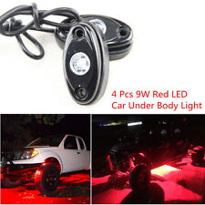 4pcs Red CREE Chips 9W LED Rock Light For Pickup Car Truck Off Road Bottom Light