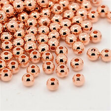 1000 Pcs Round Rose Gold Brass Spacer Beads For DIY Jewelry Making 3mm Hole 1mm