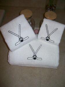 Hockey sticks 3 piece Embroidered Personalized bath towel set