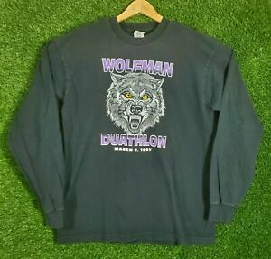 Vtg Wolfman Shirt 1997 Marathon Running Tee Made In USA Longsleeve Black 90s