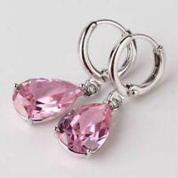 4Ct Pear Cut Pink Sapphire Diamond Drop/Dangle Earrings 14K White Gold Finish