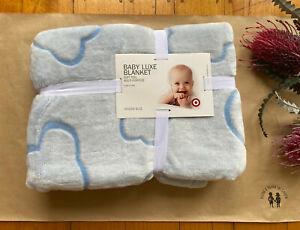 Target Baby luxe blanket pale blue clouds velour soft multi purpose, BNWT