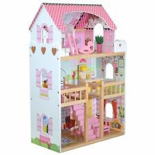 Boppi Tall Wooden Girls 3 Storey Dolls House with 17 Play Furniture Accessories