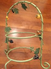 Vintage Metal Painted 2 Tier Dessert Display With Fruits.  Made In Philippines