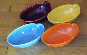 4 Vintage Bauer Pottery Ring Ware Pickle Dishes Orange Yellow Burgundy Turquoise