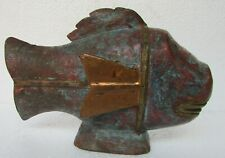Vintage Old Hand Carved Fish Statue Wooden Unique Shape Brass Fitted