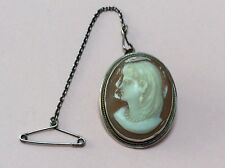 VINTAGE ITALIAN SILVER & HAND CARVED CLASSIC CAMEO PENDANT BROOCH PIN 1950