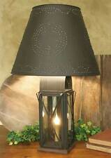 """LARGE PRIMITIVE MILK HOUSE 4 WAY LAMP W/STAR SHADE RUSTIC BROWN 22"""" TALL 6W BULB"""