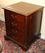 Gorgeous Flame Mahogany Leather Top 2 Drawer File Cabinet Legal Size MINT