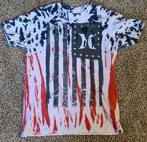 Hurley Surf USA Tie-Dye American Flag Red White Blue T-shirt Size Medium