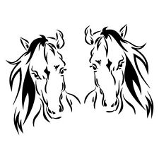 2X HORSE HEADS FLOAT TRAILER Sticker Decal Outback 4x4 Ute Country Aussie #69...