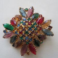 Vintage Juliana Fruit Salad Red Green Blue Rhinestone Jewelry Brooch Pin #36