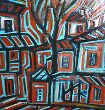 Abstract cubist cityscape oil painting