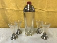 Vintage Mid-Century Glass/Chrome Martini Shaker & 4 Glasses