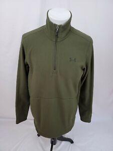UNDER ARMOUR Green ZEPHYR 1/4 Zip Logo Poly Fleece Pullover Mens Medium EUC