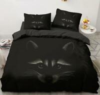 3D Raccoon Head ZHUA3663 Bed Pillowcases Quilt Duvet Cover Set Queen King Zoe