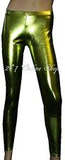 Metallic Wetlook PVC Grease Leggings Pants Fancy Dress Dance Wear Clubbing Rave