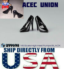 "1/6 High Heel Pumps Shoes BLACK For 12"" Phicen Hot Toys Female Figure USA SELLER"