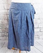"MONSOON lined skirt Size 10 waist 31"" wrap around blue grey cotton blend"