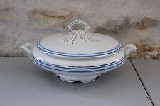 Vintage soupière ou légumier Faïencerie d'ONNAING liseré Or et bleu