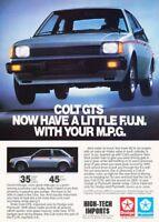1983 Dodge Colt GTS Plymouth - Original Advertisement Print Art Car Ad A89