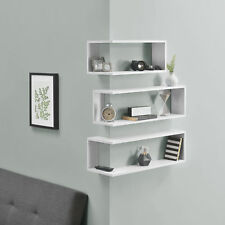 en.casa® Wandregal Eckregal Regal Ablage Wandboard CD-Regal 3-teilig Weiß