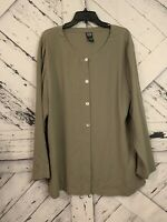 Eileen Fisher SZ Large Green Long Sleeve Tunic Top 100% Silk Button Down Shirt