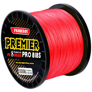 Braided Fishing Line 8 Strands Stronger PE Fishing Lines 1000M 60LB RED