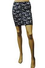 Womens H&M BodyCon STRETCH Fit Mini Skirt Navy Floral Print Size 6 to 14 Ladies