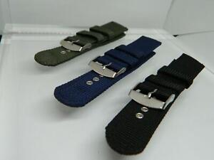 22mm Tonys Webbed Canvas watch strap,Steel Buckle,Two keepers,Stitched,3 Colours