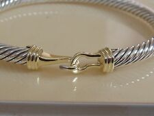 $795 DAVID YURMAN 14K GOLD, SILVER BUCKLE BRACELET SMALL