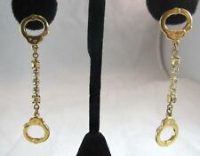 Vintage Metal LONG Rhinestone Handcuff Hand Cuff Pierced Earrings