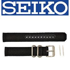 SEIKO Original SNK809 18mm Weaved Nylon Black Watch band Strap 4K13ZZ