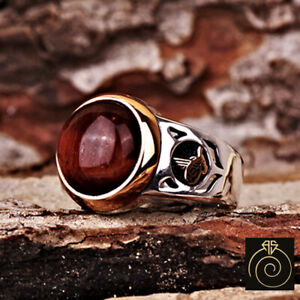 Natural Tiger Eye Mens Ring Brown Stone Custom Promise Ring For Him Ottoman Gift