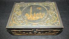 VINTAGE FOLK ART WOODEN BOX WITH HAND TOOLED COPPER OVERLAY