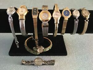 Lot of 10 Gold Tone Vintage Watches Peugeot, Pulsar, Herna, Jubilee, S Coverty