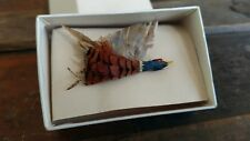 Rare Antique Pheasant Brooch or Mallard duck real feathers hand crafted