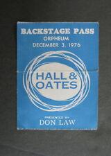 Daryl HALL & John OATES Orpheum Theatre BOSTON 1976 Concert BACKSTAGE Pass