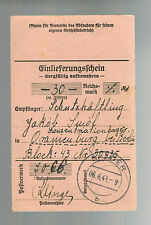 1941 Germany Oranienburg Concentration Camp money order Receipt KZ Yakob Luiof