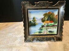 Vintage Hand painted porcelain wall picture building along river