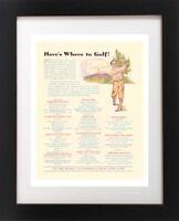 VTG Detroit MI GOLF Golfing Course Roseland Country Club Art Print Ad Art Print