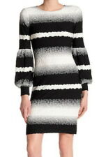 ECI Textured Stretch Dress 12 Large Black + White Bubble Long Sleeves Boat Neck