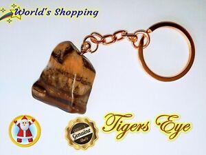 Tigers Eye Gemstone Gold Keyring 57+ Carats - #TE6