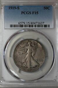 1919 S   50C   PCGS  F 15   Walking Liberty, Lady Liberty Half, 0.50