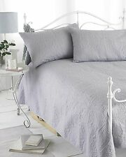 Grey Reversible Quilted Bedspread Comforter Set With Two Pillow Shams 240x260 cm