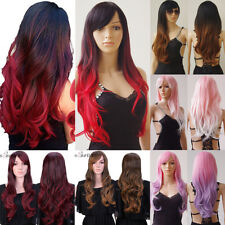 Fashion Ombre Wigs Long Hair Curly Straight Wave Full Head Wigs With Bangs by7