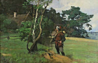 Johannes RUDOLPHI 1877 - c.1950 - Wache mit Helm an einer Birke