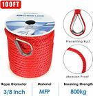 38 Inch 100ft Premium Solid Braid Mfp Anchor Line Boat Anchor Ropeline Red