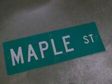 "Vintage ORIGINAL MAPLE ST Street Sign 36' X 12"" White on Green"