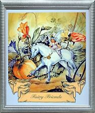 Fairy and Unicorn Horse Friend Silver Wall Framed Art Print Picture (20x24)
